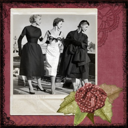 Three women in 1950 dresses